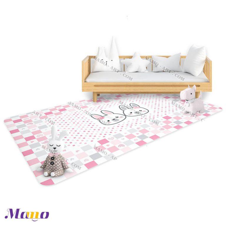 فرش عروسکی فانتزی مستطیل اتاق کودک خرگوش صورتی مامو - بهترین سیسمونی نوزاد و دکوراسیون اتاق کودک
