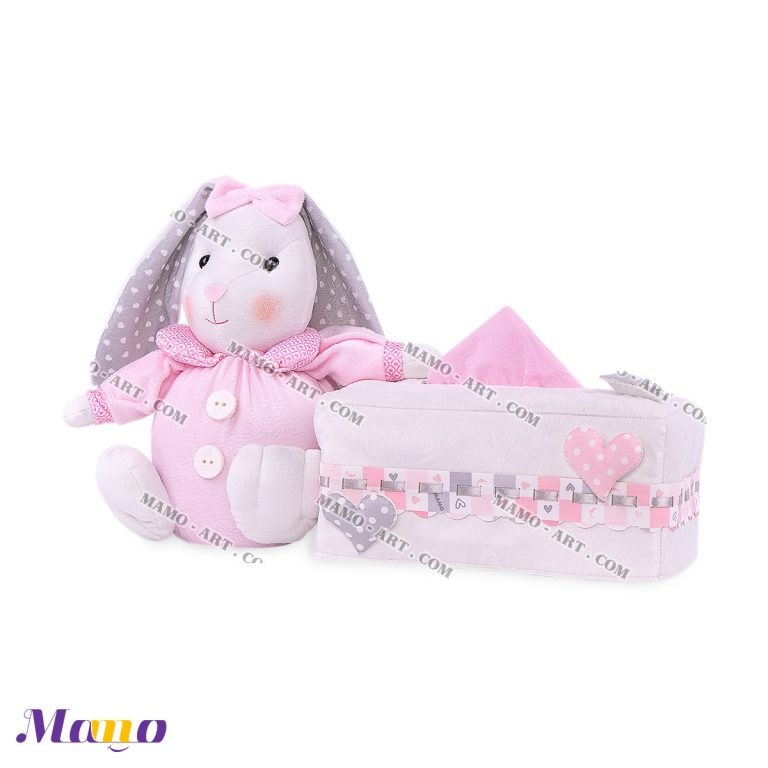 کاور عروسکی دستمال مستطیل خرگوش مامو صورتی - بهترین سیسمونی نوزاد و دکوراسیون اتاق کودک