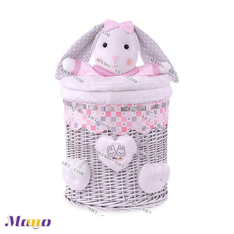 سبد عروسکی استوانه کوچک خرگوش مامو صورتی - بهترین سیسمونی نوزاد و دکوراسیون اتاق کودک