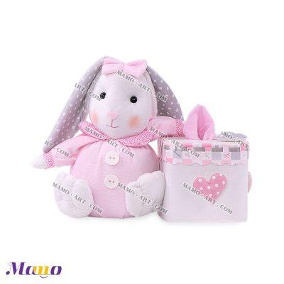 دستمال مربع خرگوش مامو صورتی