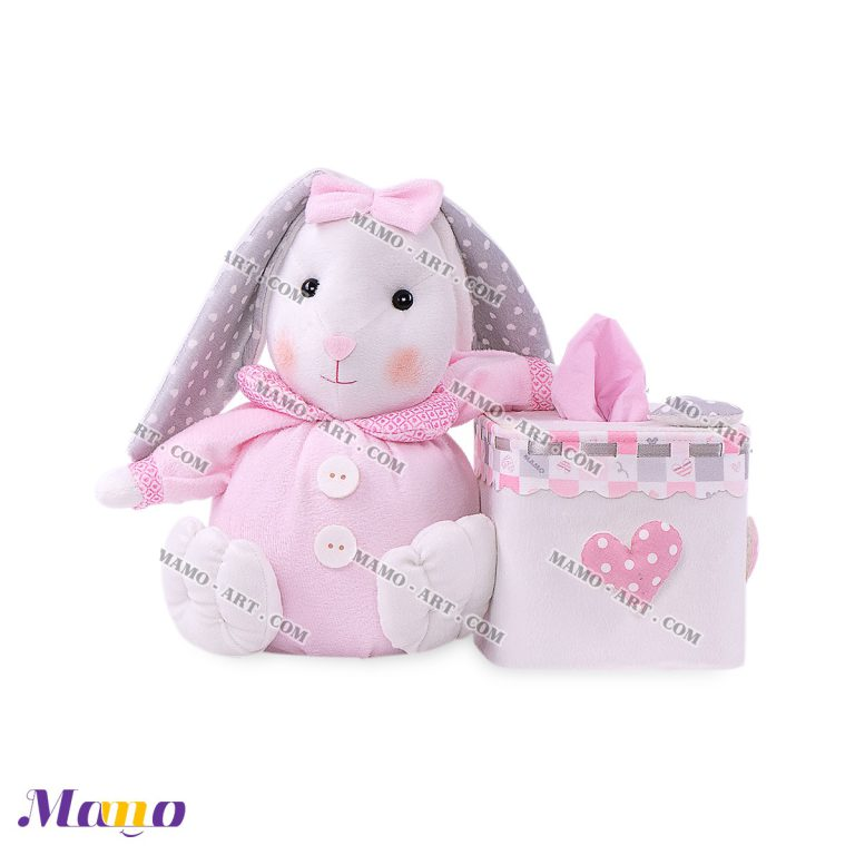 کاور عروسکی دستمال مربع خرگوش مامو صورتی - بهترین سیسمونی نوزاد و دکوراسیون اتاق کودک