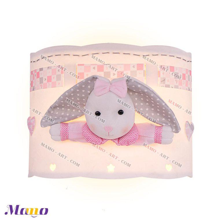 چراغ دیوارکوب دیواری فانتزی مخمل دخترانه خرگوش مامو صورتی - بهترین سیسمونی نوزاد و دکوراسیون اتاق کودک