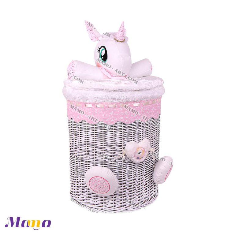 سبد لباس و اسباب بازی اتاق کودک و نوزاد یونیکورن ( اسب تک شاخ ) مامو صورتی - بهترین سیسمونی نوزاد و دکوراسیون اتاق کودک
