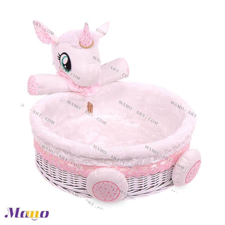 سبد لوازم بهداشتی اتاق کودک و نوزاد یونیکورن ( اسب تک شاخ ) مامو صورتی - بهترین سیسمونی نوزاد و دکوراسیون اتاق کودک