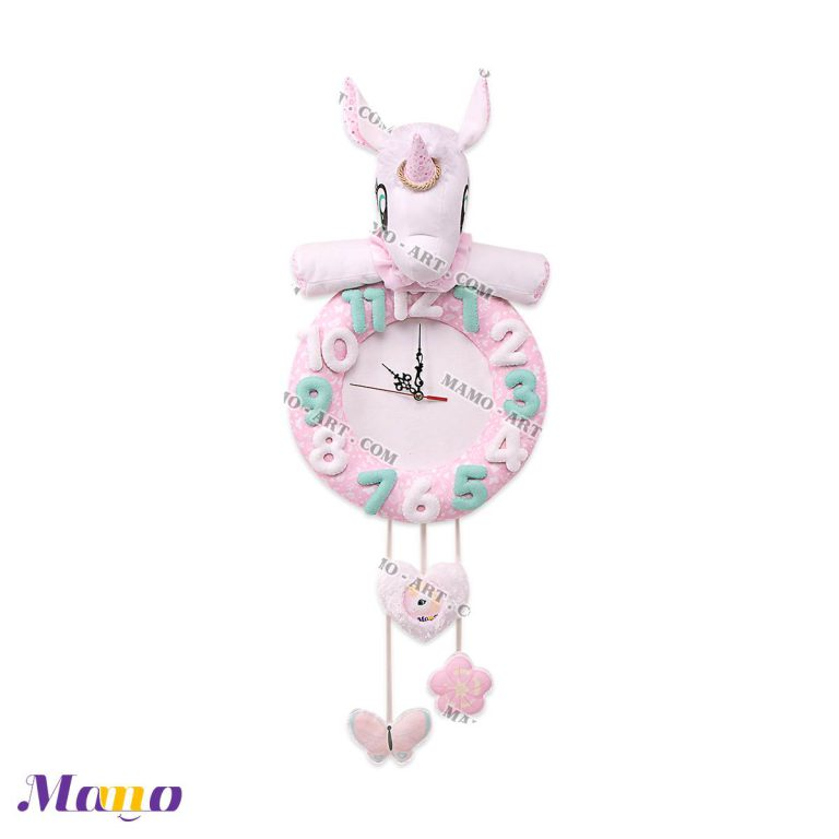 ساعت فانتزی عروسکی مخمل کودک و نوزاد یونیکورن ( اسب تک شاخ ) مامو صورتی - بهترین سیسمونی نوزاد و دکوراسیون اتاق کودک