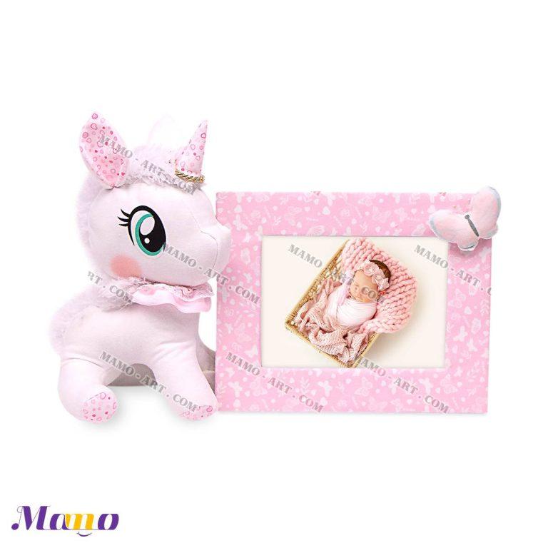 قاب عکس کودک و نوزاد یونیکورن ( اسب تک شاخ ) مامو صورتی - بهترین سیسمونی نوزاد و دکوراسیون اتاق کودک