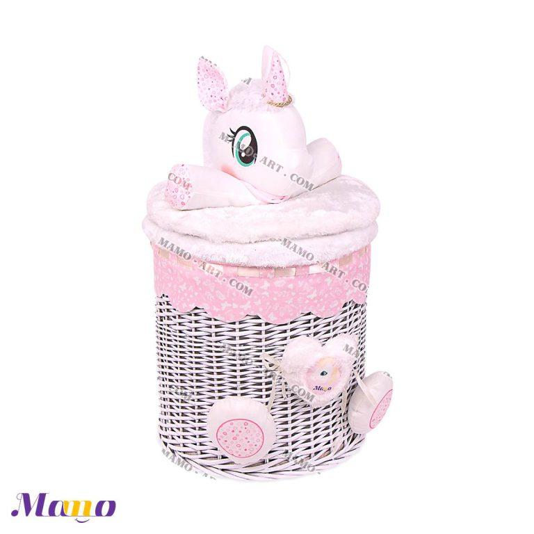 سطل لباس و اسباب بازی کودک و نوزاد یونیکورن ( اسب تک شاخ ) مامو صورتی - بهترین سیسمونی نوزاد و دکوراسیون اتاق کودک