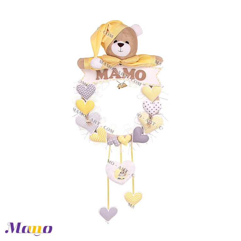 حلقه آویز اسم عروسکی مخمل ( دخترانه و پسرانه) اتاق کودک خرس مامو لیمویی - بهترین سیسمونی نوزاد و دکوراسیون اتاق کودک