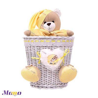 سطل زباله حصیری خرس مامو لیمویی