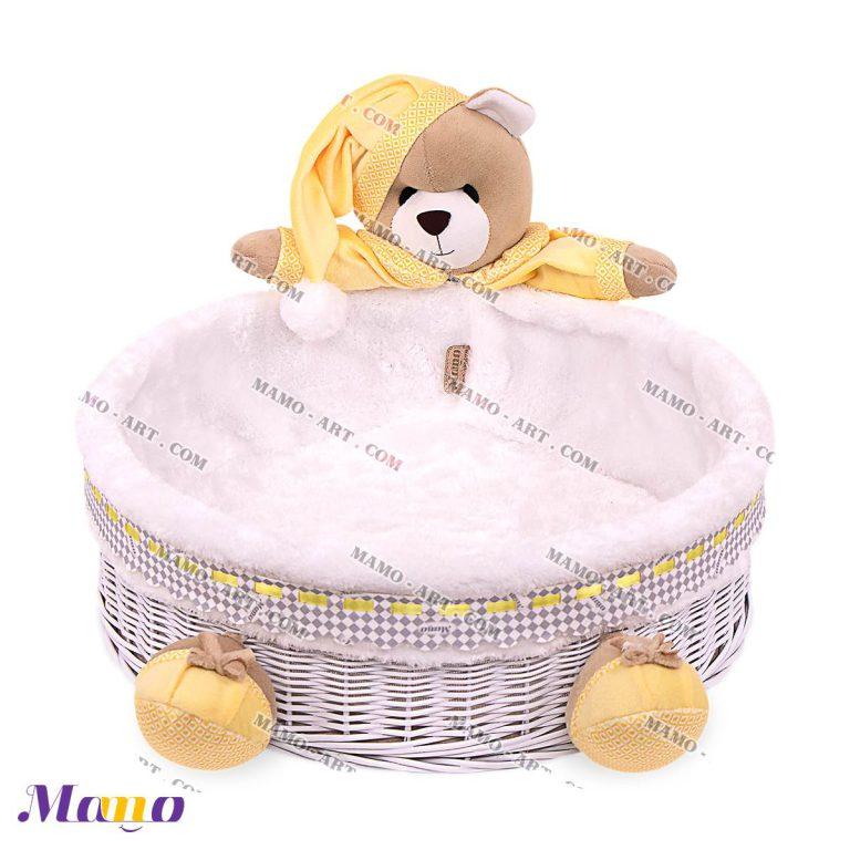 سبد حصیری لوازم بهداشتی نوزاد اتاق کودک خرس مامو لیمویی - بهترین سیسمونی نوزاد و دکوراسیون اتاق کودک
