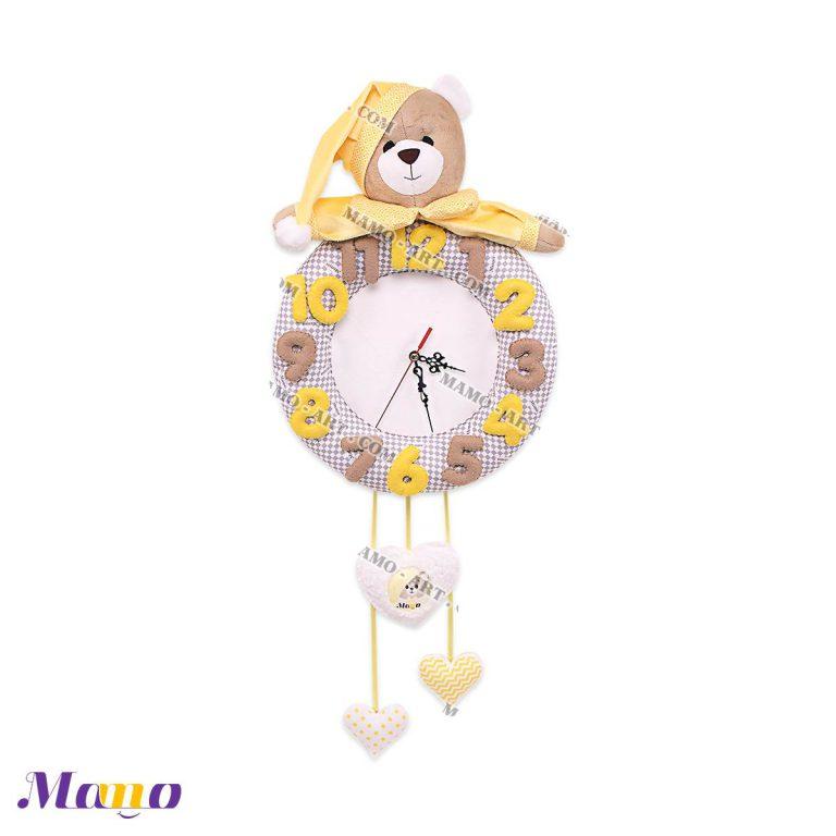 ساعت فانتزی عروسکی مخمل ( دخترانه و پسرانه) اتاق کودک خرس مامو لیمویی - بهترین سیسمونی نوزاد و دکوراسیون اتاق کودک