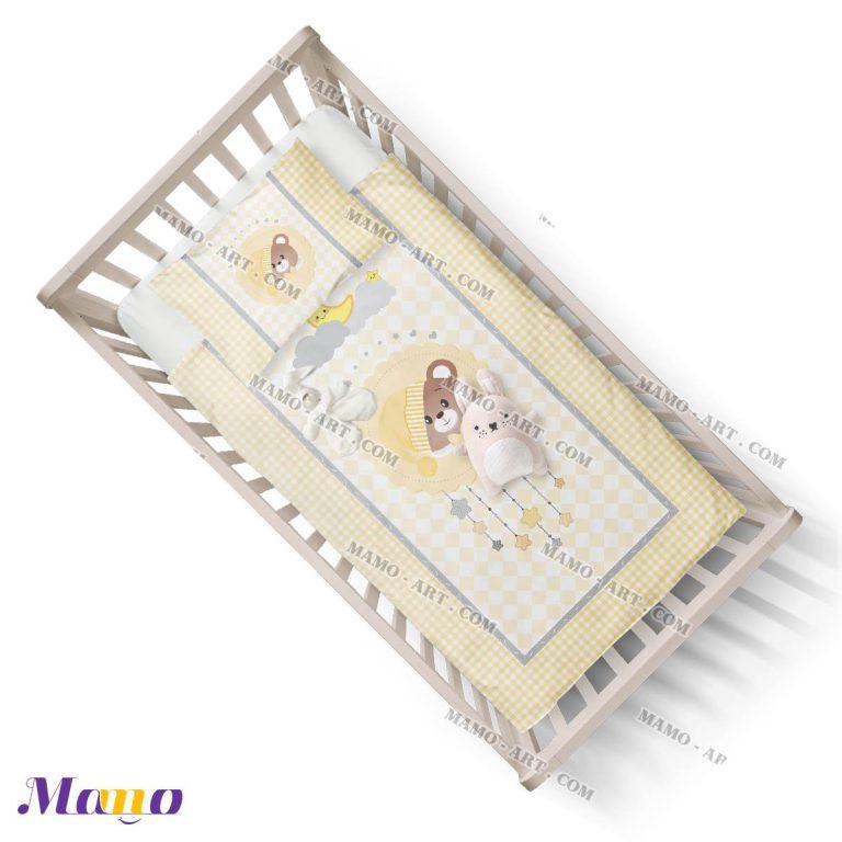 لحاف نوزاد اتاق کودک خرس مامو لیمویی - بهترین سیسمونی نوزاد و دکوراسیون اتاق کودک