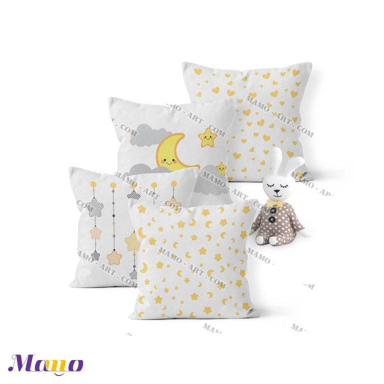 کوسن گارد محافظ تخت نوزاد اتاق کودک خرس مامو لیمویی - بهترین سیسمونی نوزاد و دکوراسیون اتاق کودک