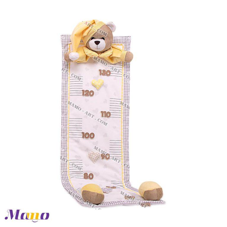 متر قد مخمل اتاق کودک خرس مامو لیمویی - بهترین سیسمونی نوزاد و دکوراسیون اتاق کودک