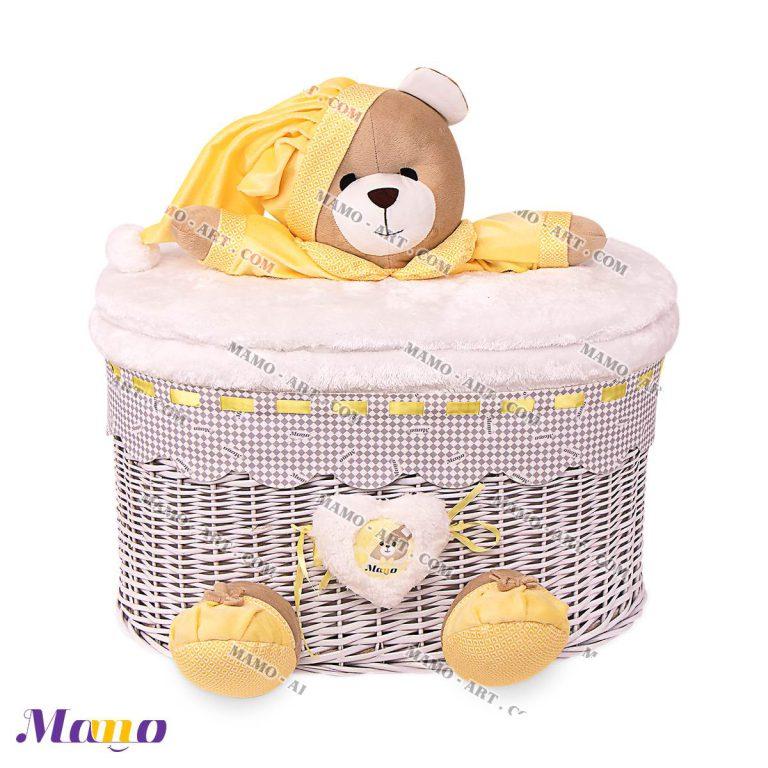 سبد لباس و واسباب بازی فانتزی عروسکی مخمل ( دخترانه و پسرانه) اتاق کودک خرس مامو لیمویی - بهترین سیسمونی نوزاد و دکوراسیون اتاق کودک