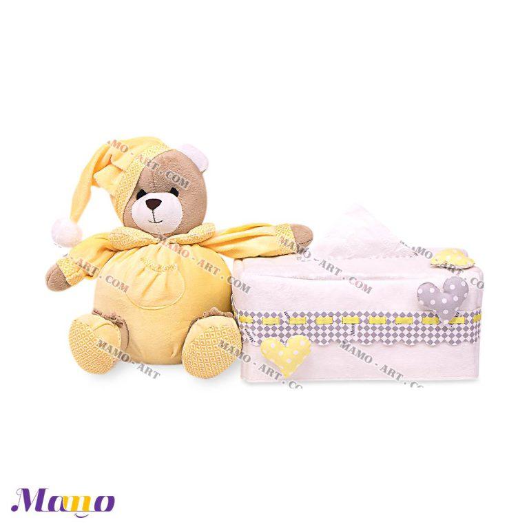کاور دستمال کاغذی نوزاد اتاق کودک خرس مامو لیمویی - بهترین سیسمونی نوزاد و دکوراسیون اتاق کودک