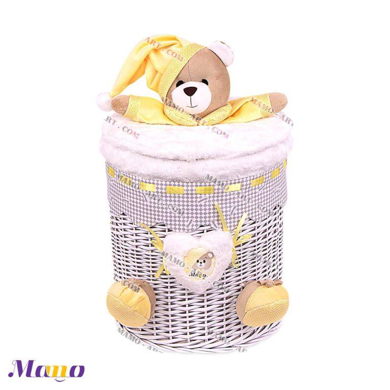 سبد حصیری لباس چرک و اسباب بازی نوزاد اتاق کودک خرس مامو لیمویی - بهترین سیسمونی نوزاد و دکوراسیون اتاق کودک