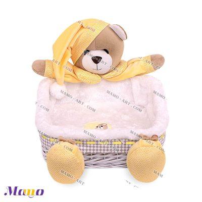 سبد لوازم بهداشتی مربع خرس مامو لیمویی