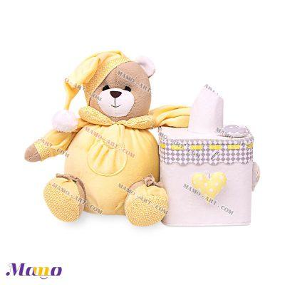 جعبه دستمال مربع خرس مامو لیمویی