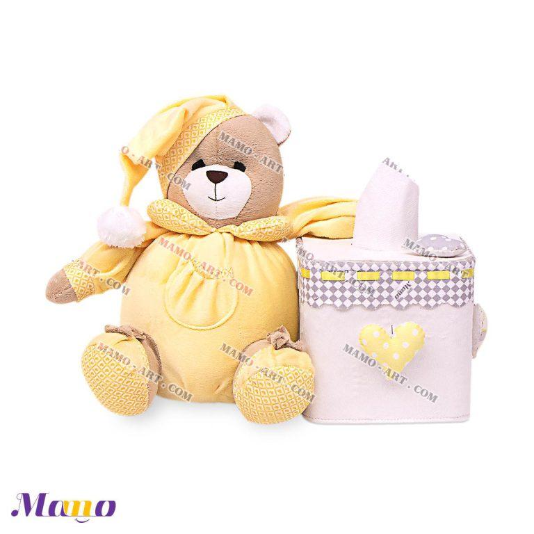 جعبه دستمال کاغذی نوزاد اتاق کودک خرس مامو لیمویی - بهترین سیسمونی نوزاد و دکوراسیون اتاق کودک