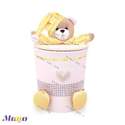 سطل زباله مخمل خرس مامو لیمویی