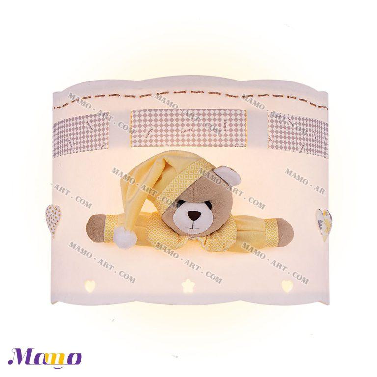 چراغ دیوارکوب دیواری فانتزی عروسکی مخمل ( دخترانه و پسرانه) اتاق کودک خرس مامو لیمویی - بهترین سیسمونی نوزاد و دکوراسیون اتاق کودک