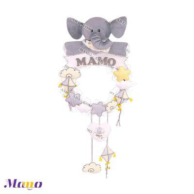 (آویز) حلقه اسم فیل مامو طوسی لیمویی