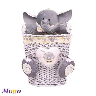 سطل زباله حصیری فیل مامو طوسی لیمویی