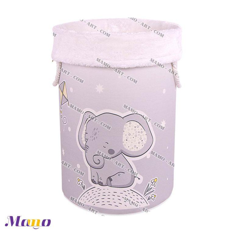 باکس لباس اسباب بازی فانتزی عروسکی مخمل ( دخترانه پسرانه ) اتاق کودک طرح فیل مامو لیمویی - بهترین سیسمونی نوزاد و دکوراسیون اتاق کودک