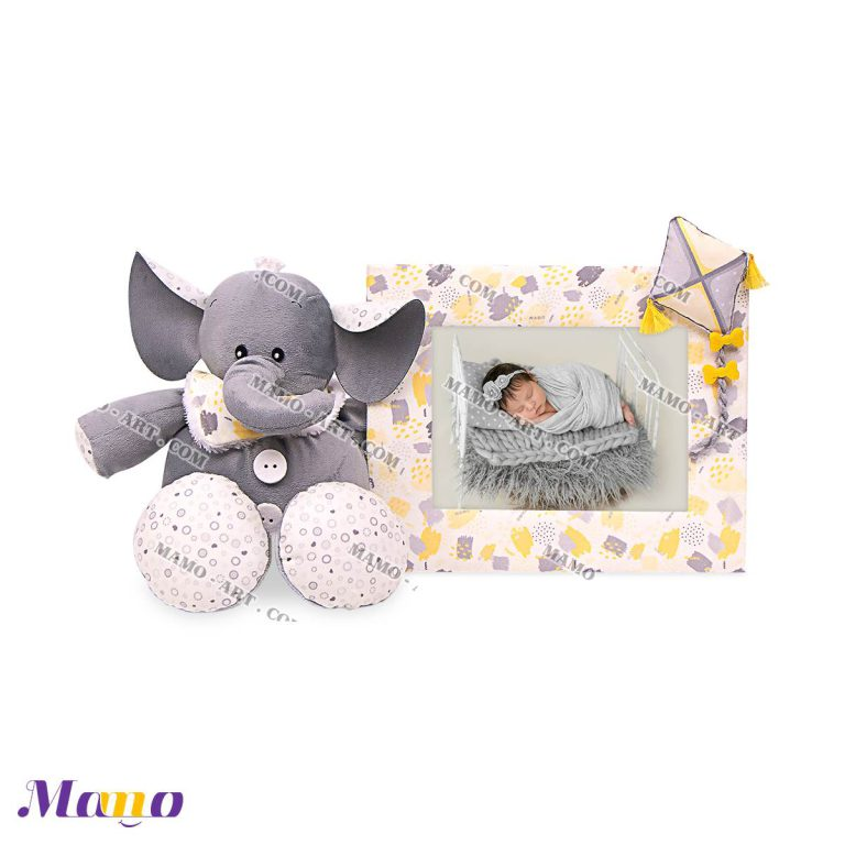 قاب عکس مخمل اتاق کودک فیل مامو لیمویی - بهترین سیسمونی نوزاد و دکوراسیون اتاق کودک