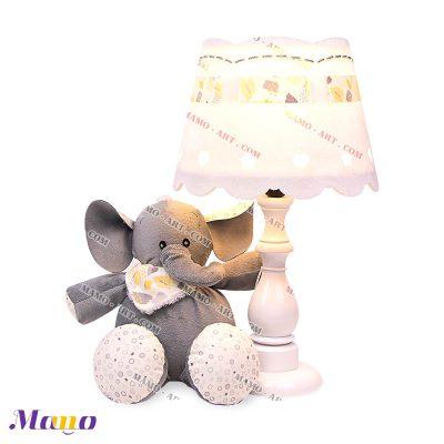 آباژور عروسکی فیل مامو طوسی لیمویی
