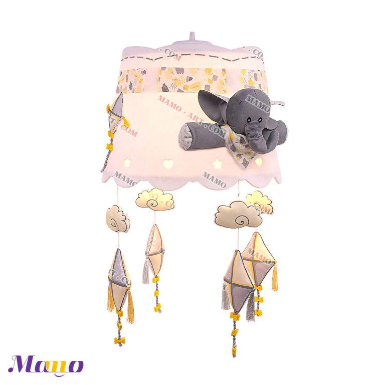 لوستر چراغ خواب مخمل اتاق کودک طرح فیل مامو لیمویی - بهترین سیسمونی نوزاد و دکوراسیون اتاق کودک