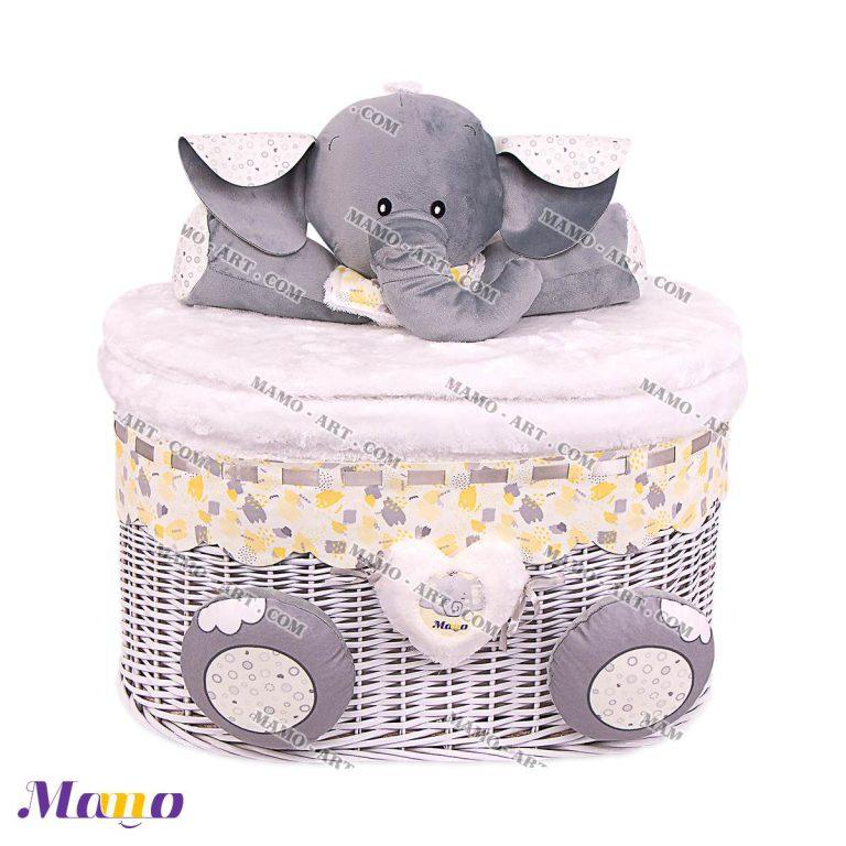 سبد لباس چرک و اسباب بازی اتاق کودک طرح فیل مامو لیمویی - بهترین سیسمونی نوزاد و دکوراسیون اتاق کودک