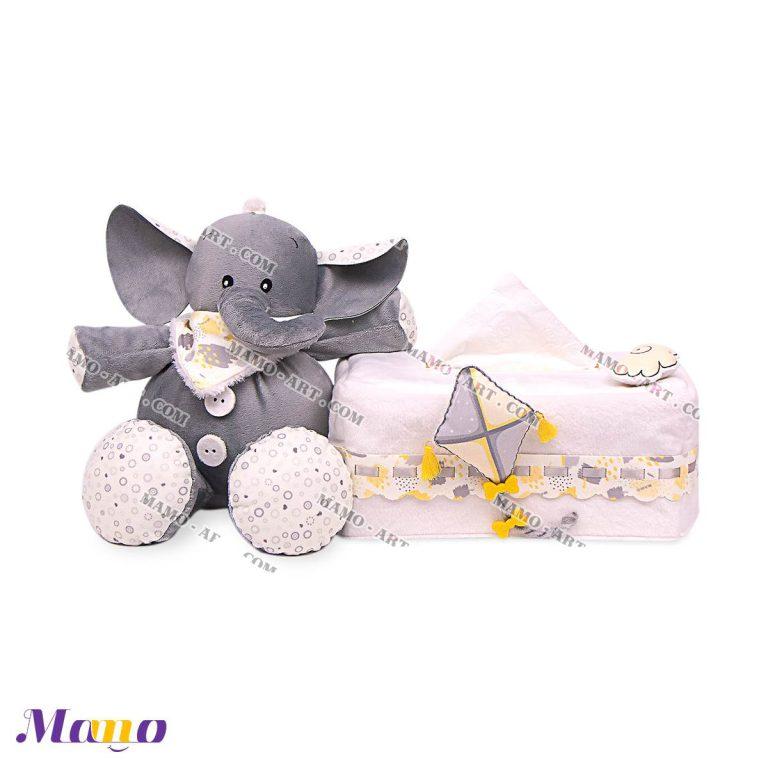 کاور دستمال کاغذی مخمل اتاق کودک طرح فیل مامو لیمویی - بهترین سیسمونی نوزاد و دکوراسیون اتاق کودک