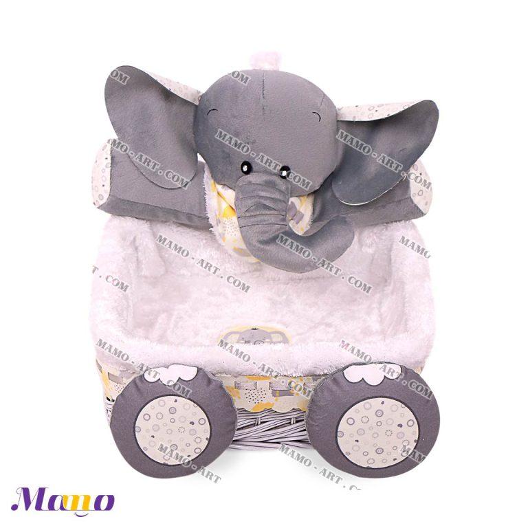سبد لوازم بهداشتی اتاق کودک طرح فیل مامو لیمویی - بهترین سیسمونی نوزاد و دکوراسیون اتاق کودک