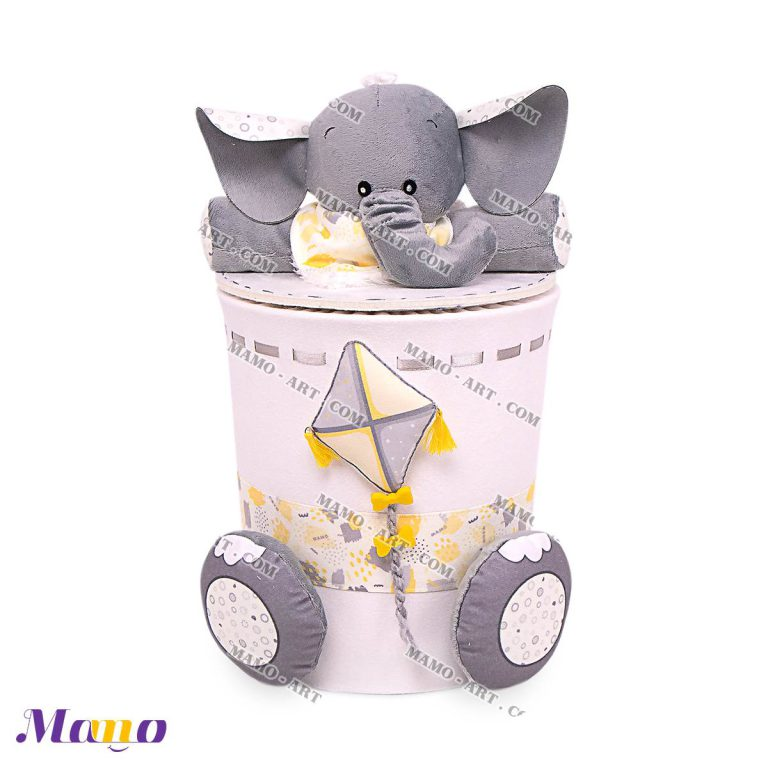 سطل زباله مخمل اتاق کودک طرح فیل مامو لیمویی - بهترین سیسمونی نوزاد و دکوراسیون اتاق کودک