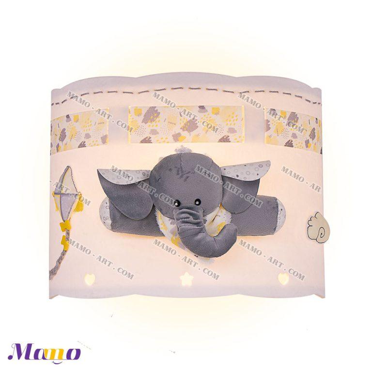 چراغ دیوارکوب دیواری فانتزی مخمل اتاق کودک طرح فیل مامو لیمویی - بهترین سیسمونی نوزاد و دکوراسیون اتاق کودک
